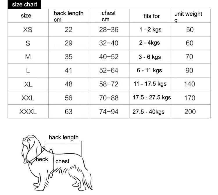 Dog After Surgery Wear size chart