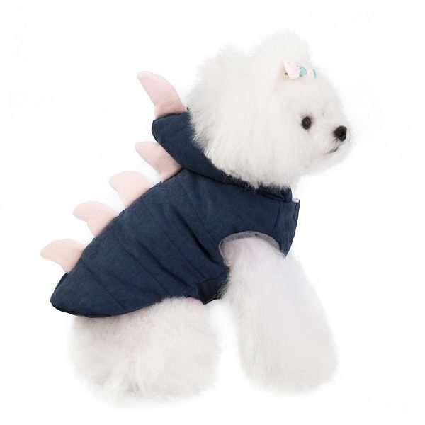 Honden Hoodie – Gevoerde Hondenjas – Dino - Blauw